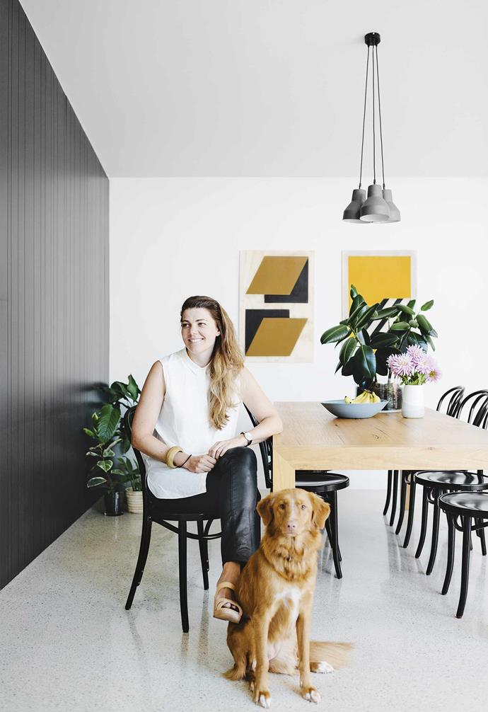 The design process, which included a lot of correspondence between the United Arab Emirates and Australia, took place over the course of almost a year. As far away as Lauren and Will were, there were very few bumps. <br><br>**Dining area** Architect Claire Cousins sits at the table made by Will's father.