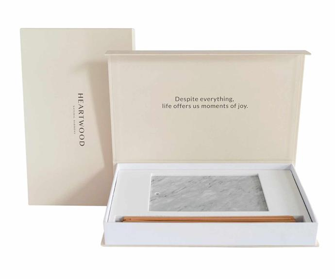 """Incense gift set with Indian Sandalwood and Italian white carrara marble burner, $140, [Heartwood](https://heartwoodco.com.au/
