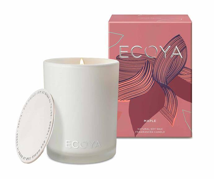 "Ecoya autumn limited edition candle in Maple, $42.95, [Ecoya](https://www.ecoya.com.au/|target=""_blank""|rel=""nofollow"")."