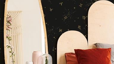 This astrology-inspired removable wallpaper is a horoscope lover's dream