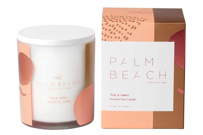 """Palm Beach soy candle in Teak & Amber, $42.95, [Palm Beach Collection](https://palmbeachcollection.com.au/