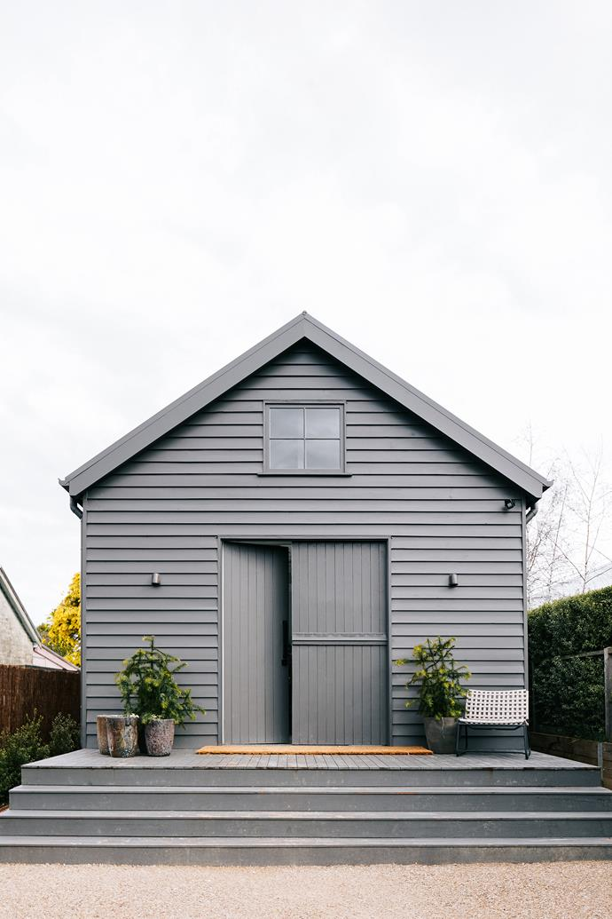 The exterior of the one-bedroom studio is painted in a colour matched to Colorbond Woodland Grey.