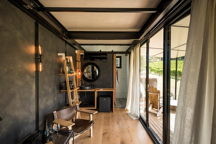 Each cabin features timber floors, a kitchenette and subway-tiled bathroom with Melbourne-made toiletries by Leif - everything you need for a night under the stars.