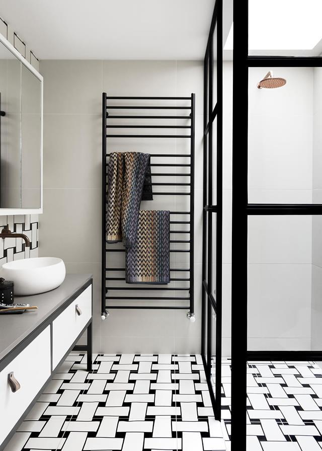 Quirky Ornamenta Tangle feature tiles from Urban Edge Ceramics surprise and delight in this monochrome bathroom.