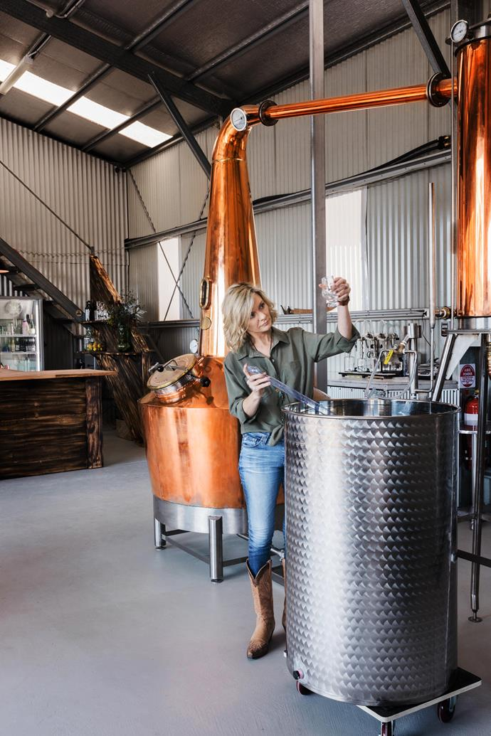 Kylie Sepos working on her Autumn Dry Gin at The Farmer's Wife Distillery on her property in Allworth, NSW.