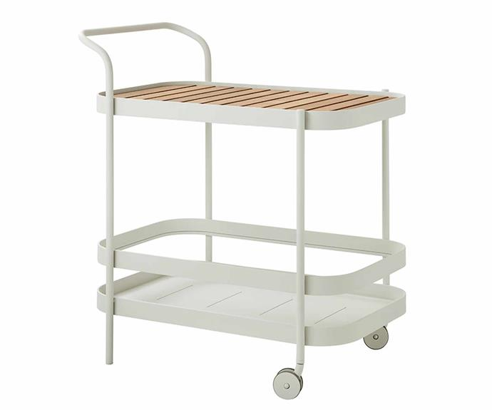 """Cane-line 'Roll' bar trolley in White Aluminium, $1988, [Trit House](https://www.trithouse.com.au/