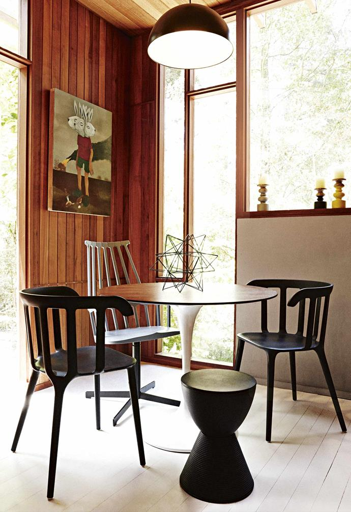 "**Your furniture and art are a lovely fit with the house. Was it bought specially?** <br><br>No, I'd say we had 90 per cent of this. It's just my style.<br><br>**Dining nook** The space where the family enjoys their breakfast reflects Harold's talent for mixing eras, with the tall chair by [Kartell](https://www.kartell.com/|target=""_blank""