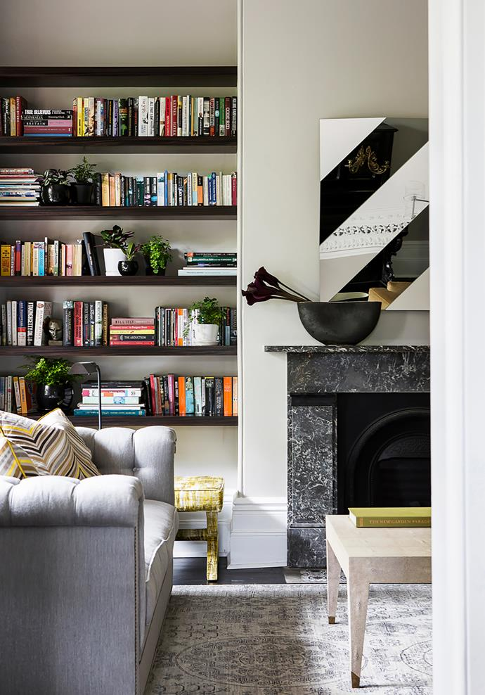 Macassar bookshelves were custom designed by Brendan.