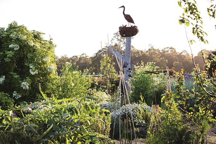 Overlooking the garden is a heron sculpture is by Tasmanian sculptor Folko Kooper, made in tribute to a pair of grey herons that live nearby.