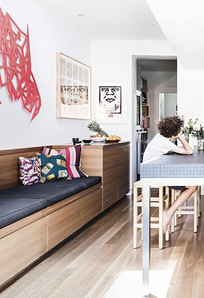 """**What are your favourite spaces in the home?** <br><br>The kitchen really is the centre of the home, and ours is perfect for entertaining. It's great having a [daybed](https://www.homestolove.com.au/daybed-ideas-19586