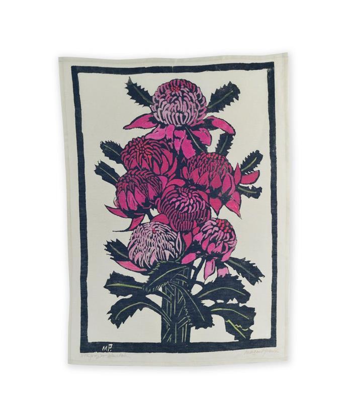 """Waratahs Tea Towel x Margaret Preston, $45, [Third Drawer Down](https://www.thirddrawerdown.com/products/waratahs-tea-towel-x-margaret-preston?_pos=4&_sid=13e35ff38&_ss=r target=""""_blank"""")"""