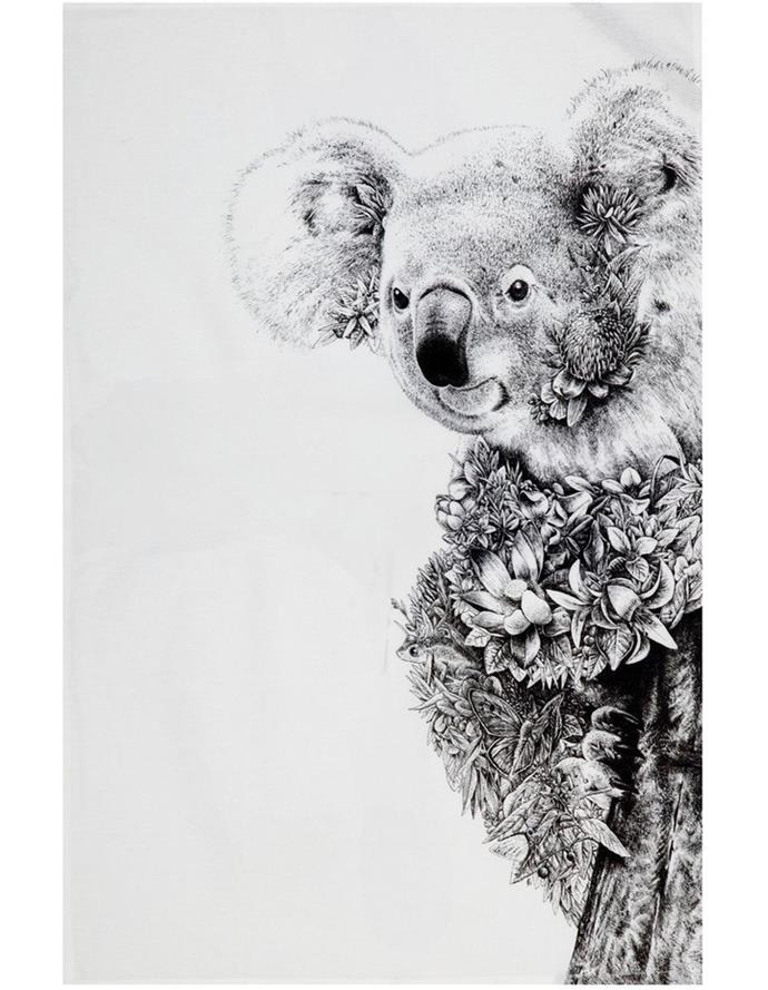 "Maxwell & Williams Marini Ferlazzo 'Koala On Gum' tea towel, $14.95, [Myer](https://www.myer.com.au/p/maxwell-williams-marini-ferlazzo-tea-towel-50x70cm-koala-on-gum target=""_blank"")"