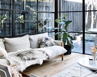 living room sofa steel framed windows