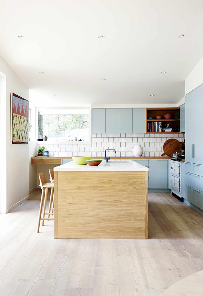 """Next came a large-scale kitchen and living room makeover that took place over three months.""""I'm a big foodie, and love to cook, so being in a well appointed kitchen was a must,"""" says Arabella. What was once a small triangular-shaped [galley kitchen](https://www.homestolove.com.au/galley-kitchen-inspiration-16688