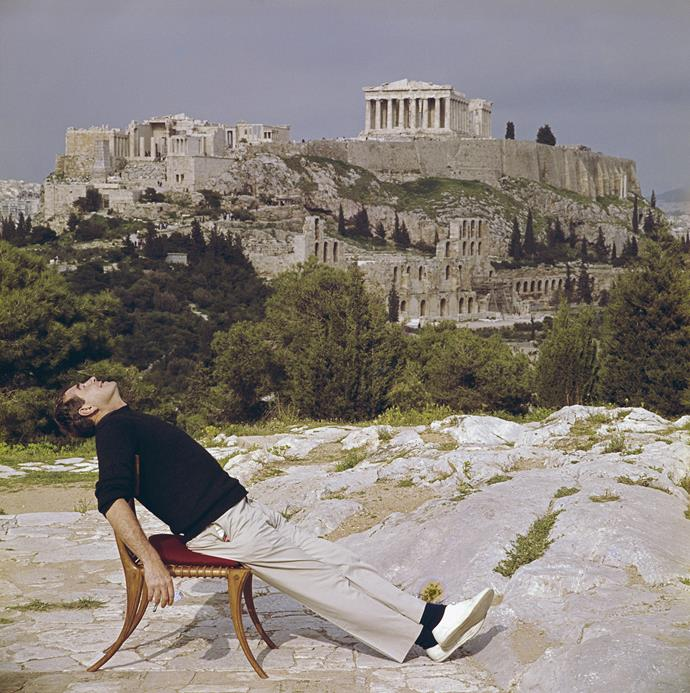 Slim Aarons, who died in 2006, inspired a new style of celebrity photography during his 60-year career. In Civilised Snooze (pictured), he's pictured with the Acropolis in the background.