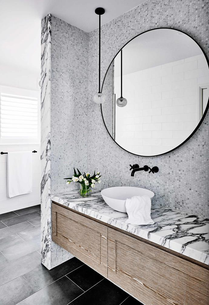 """**No stone unturned** A [restrained colour palette](https://www.homestolove.com.au/bathroom-colour-ideas-16119