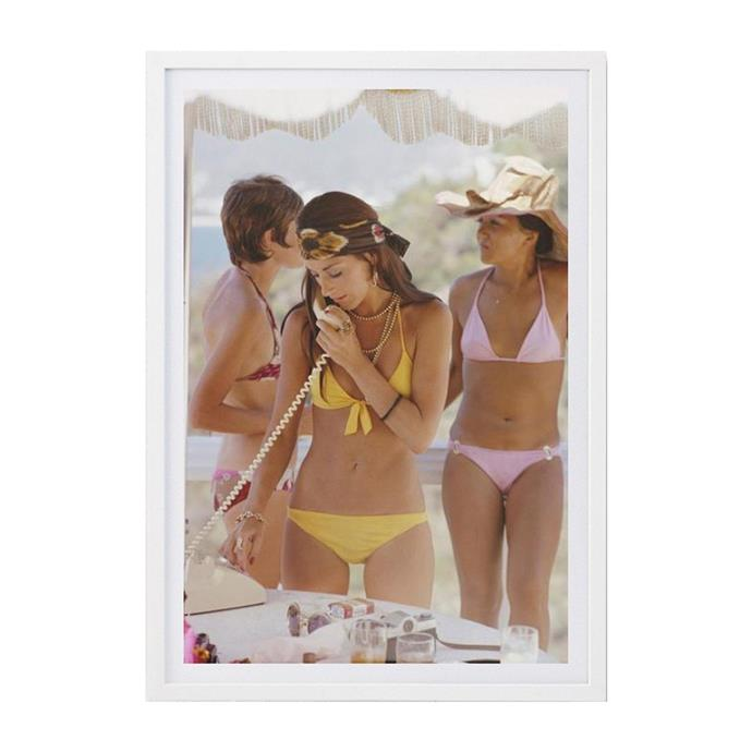 "Social Call Print by Slim Aarons, from $510, [Life Interiors](https://www.lifeinteriors.com.au/slim-aarons-social-call-print|target=""_blank"")"