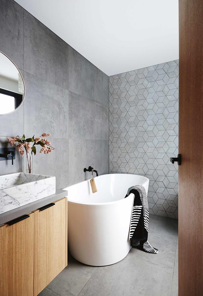 """**A certain quality** Pairing marble with concrete is a tonal dream that lends sophistication as seen in the bathroom of [this earthy yet airy Melbourne home](https://www.homestolove.com.au/styling-inspo-from-an-earthy-yet-airy-melbourne-home-17461