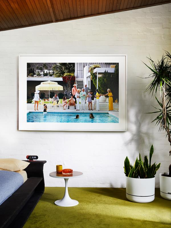 "Slim Aarons Kaufmann Desert House print, from $510, [Framing A to T](https://www.framingtoat.com.au/product/kaufmann-desert-house/|target=""_blank"")"
