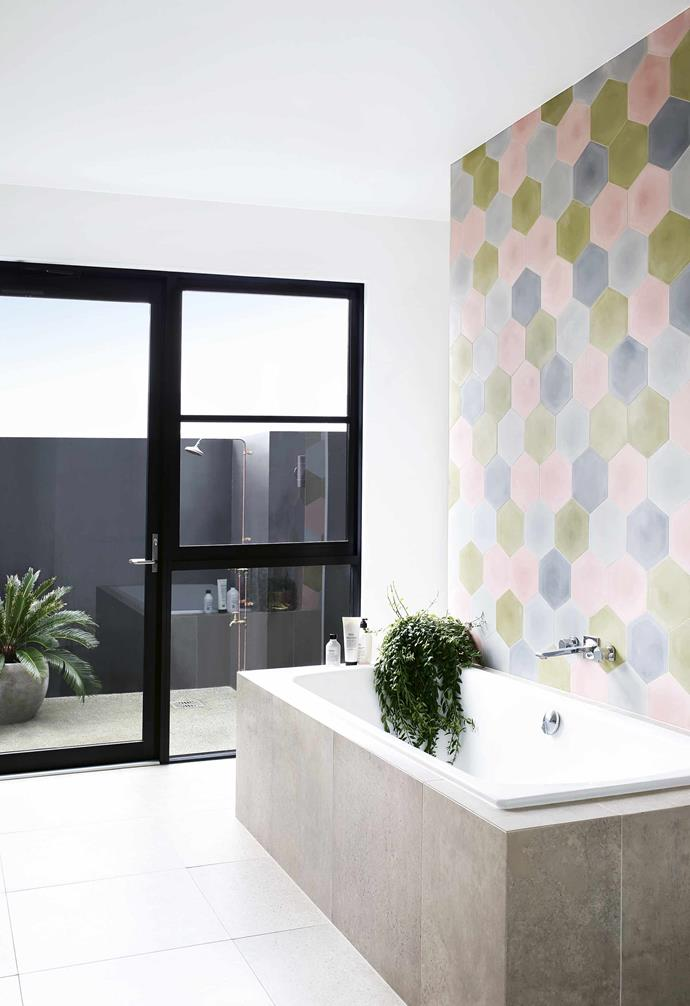 """**Multi-faceted view** A [bathroom is a brilliant opportunity to explore the possibilities of colour](https://www.homestolove.com.au/10-colourful-bathrooms-to-inspire-6780