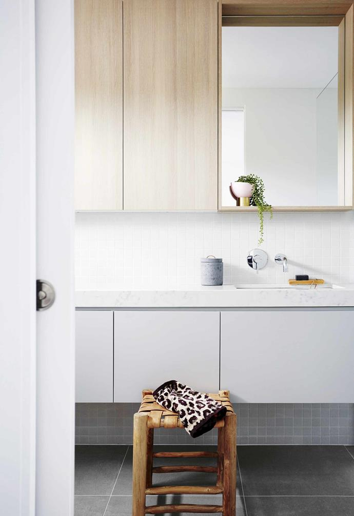 """**Hanging around** Another sure-fire way to [make a petite bathroom feel spacious](https://www.homestolove.com.au/14-tips-to-help-you-maximise-a-small-bathroom-4074