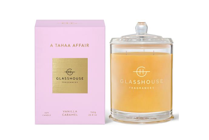 "'A Tahaa Affair' vanilla caramel candle, $44.95, [Glasshouse](https://www.glasshousefragrances.com/products/380g-candle-a-tahaa-affair?variant=31391466356820|target=""_blank"")"