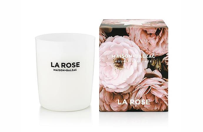 "La Rose candle, $69, [Maison Balzac](https://www.maisonbalzac.com/products/la-rose|target=""_blank"")"
