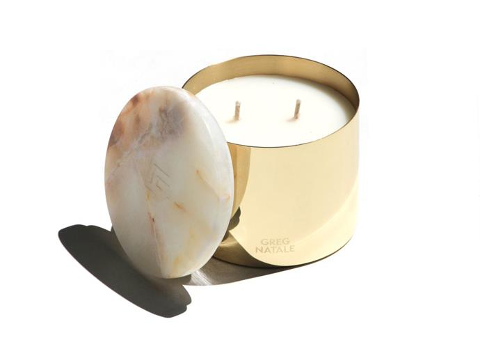 """**'Memory' candle, $100 , [Greg Natale](https://shop.gregnatale.com/products/memory-greg-natale-candle?_pos=2&_sid=e0e842de3&_ss=r&variant=2145695727625