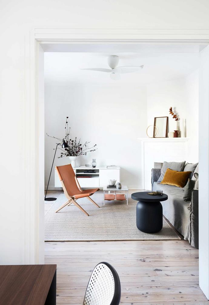 """**Living** Calm and welcoming is the vibe here. Sofa, [MCM House](https://www.mcmhouse.com/