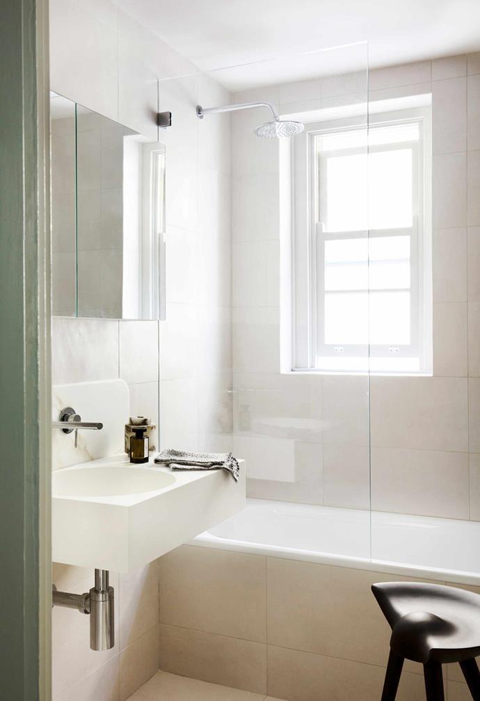 "**Bathroom** An Omvivo 'Neo' basin and Phoenix 'Vivid Slimline' wall basin (both from [Reece](https://www.reece.com.au/|target=""_blank""|rel=""nofollow"")|target=""_blank""|rel=""nofollow"") are backed by a custom marble slab. By Larsen stool, [Fred International](https://fredinternational.com.au/|target=""_blank""|rel=""nofollow"")."