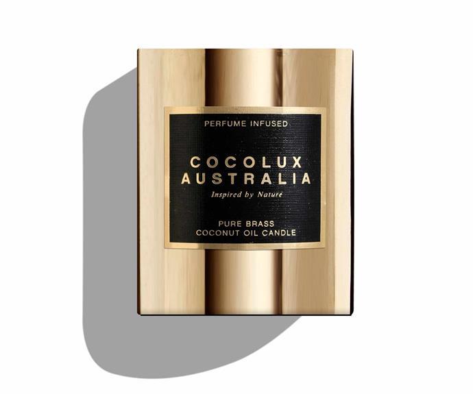 "Violet Tabac - Large Luna brass candle, $75, [Cocolux Australia](https://www.cocoluxaustralia.com.au/product-page/violet-tabac-350g-luna-brass-candle|target=""_blank""|rel=""nofollow"")."
