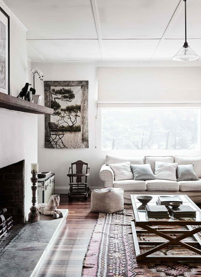 """I like a neutral palette — kind of Hamptons with a twist. Because it's an older house, you need things that won't date,"" says owner Katie of her [updated farmhouse](https://www.homestolove.com.au/modern-farmhouse-interior-20719
