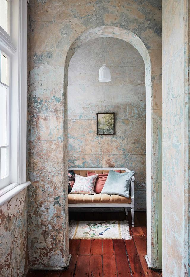 "The sunroom off the bedroom in this updated [1885 Italianate Victorian home](https://www.homestolove.com.au/italianate-victorian-home-19959|target=""_blank"") was left untouched and the patina of the chipped original paintwork brings a lovely soft, romantic quality to the space."