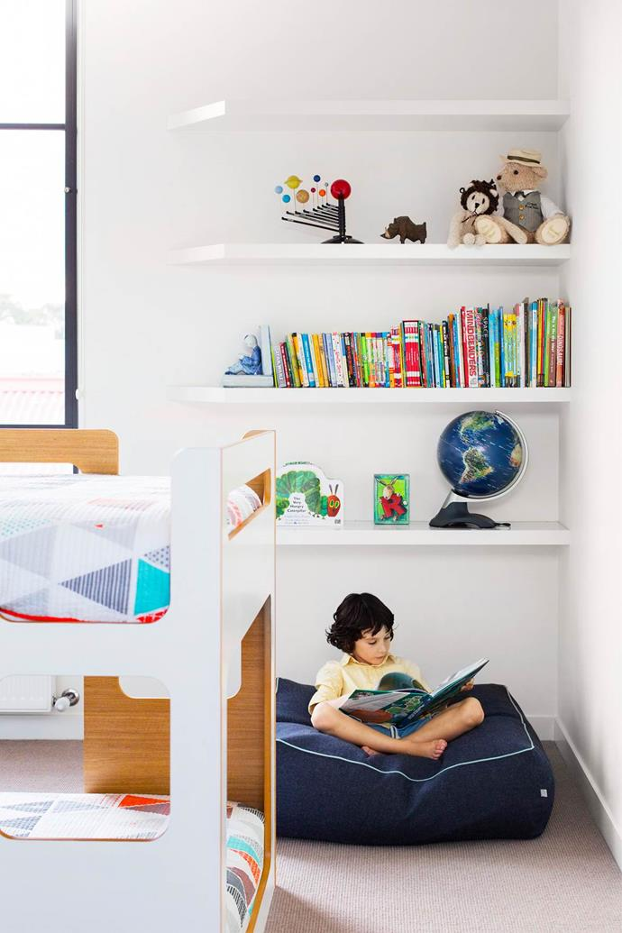 "With three young children to accommodate in their [chic house](https://www.homestolove.com.au/gallery-funny-side-up-dave-hughes-2659|target=""_blank""), comedian/radio host Dave Hughes and wife Holly Ife prioritised space and an open layout that could meet the needs of the family as it evolved. The low-set bunk bed from Domayne in the children's bedroom provides safe and practical sleeping zones."