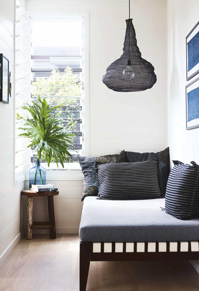"""Ayindi proved not to need too much colour,"" says Lucy. ""I wanted the feeling to be harmonious and easy on the eye – a bit [wabi-sabi](https://www.homestolove.com.au/what-is-wabi-sabi-4784