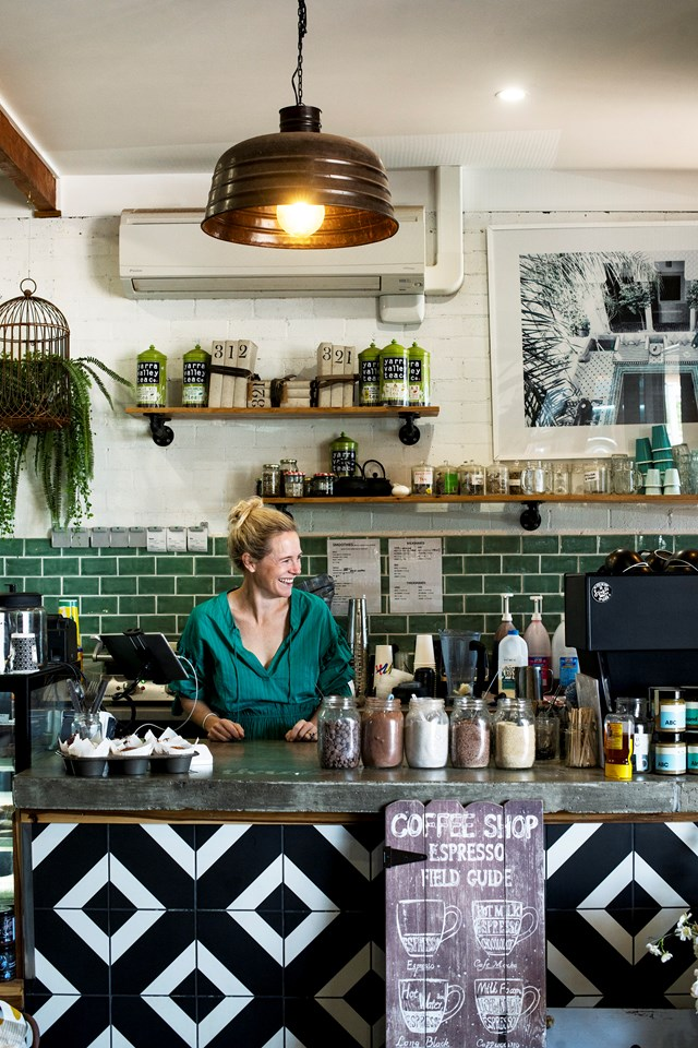 Katie always greets customers with a big smile at her café and gift shop, Stone's Throw, where you can buy coffee, local produce and homewares.