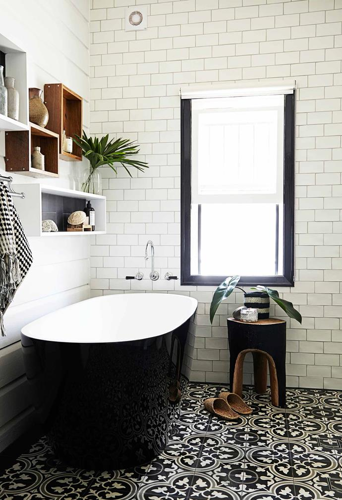 This eco friendly bathroom celebrates the heritage elements of the home with a modern touch.