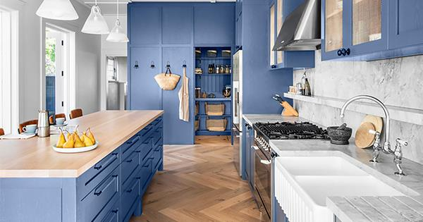 A Blue Country Style Kitchen That Embraces Natural Durable Materials Australian House And Garden