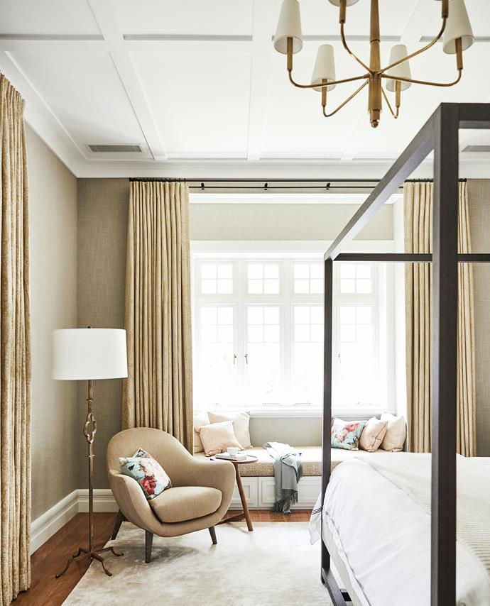 Putting hotel rooms to shame, the master bedroom is filled with a Maxalto 'Alcova 09' canopy bed and Mad Queen low armchairs from Space. Custom-made art silk rug, Tappeti. Printex wallpaper, Ascraft. Floor lamp and six-arm chandelier, Cromwell.