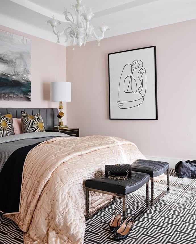 Minotti 'Monge' benches from De De Ce. Bedding from Kelly Wearstler. Vintage lamp and bedside table from Conley & Co. Vintage Murano chandelier. Scott Petrie artwork. Print from Arthouse Co.