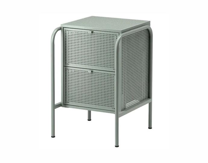 "Nikkeby chest of 2 drawers in grey-green, $99, [Ikea](https://www.ikea.com/au/en/p/nikkeby-chest-of-2-drawers-grey-green-70439455/|target=""_blank""
