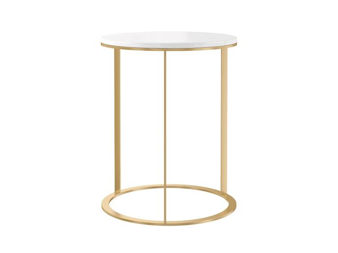 "Huber side table, $299, [Brosa](https://www.brosa.com.au/products/huber-side-table?SKU=STBHUB08GLD|target=""_blank""