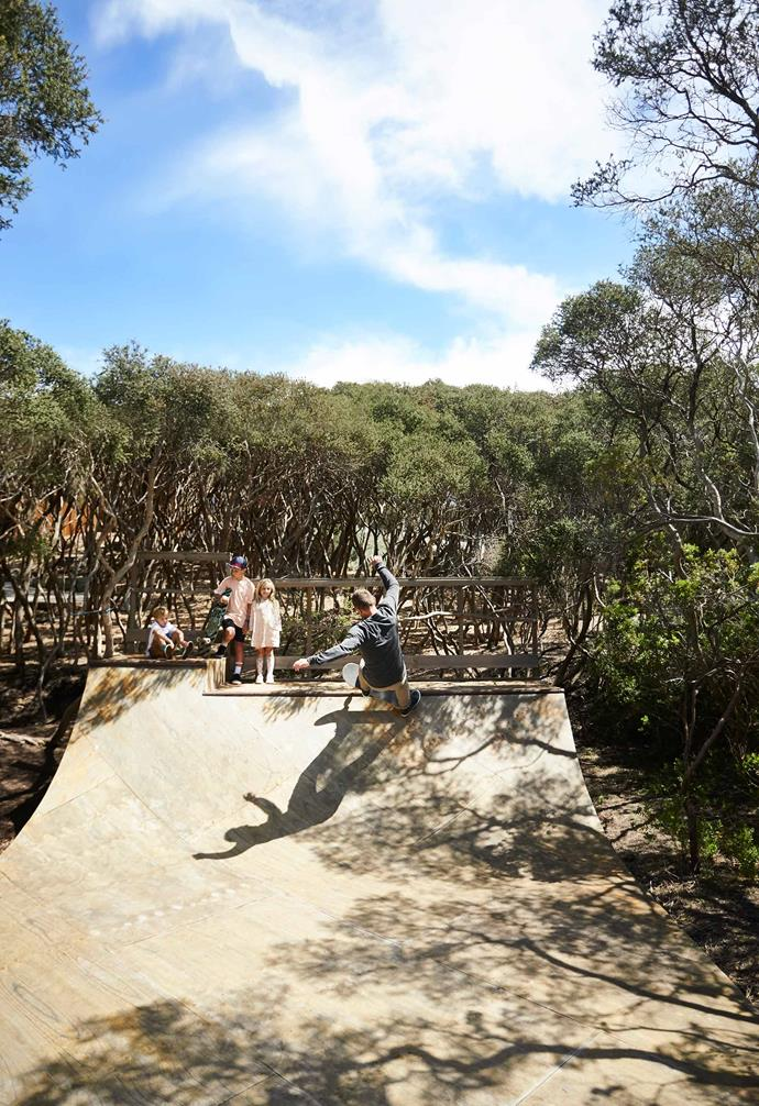 **Exterior** The adventure-loving family even included a half-pipe ramp in their backyard, buying the parents hours of time while the kids hang out there. Mark busts a Dad-trick for Ziggy, Bailey and Sophie.