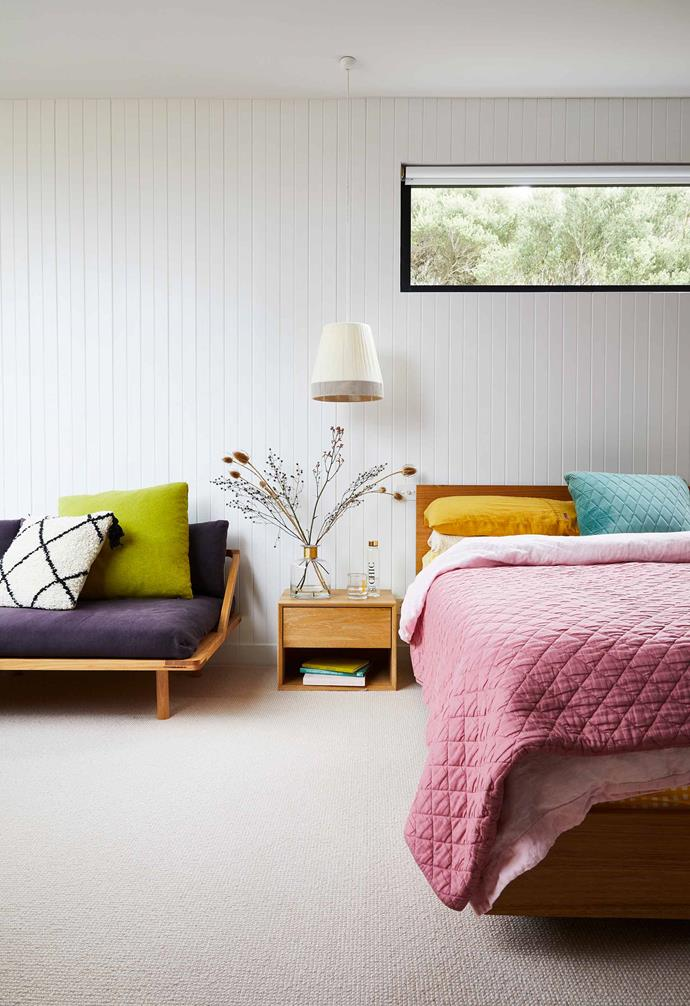 """**Main bedroom** """"I love to add a bit of colour with accessories and bed linen,"""" says Brooke of her [Kip & Co](https://kipandco.com.au/