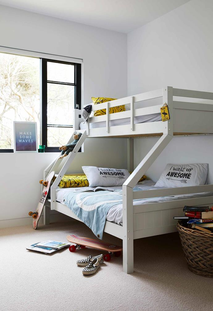 """**Bailey's room** Sleepovers with friends are fuss-free with a bunk bed. """"We've kept it simple in the kids' rooms because they spend most of their time outside,"""" says Brooke."""