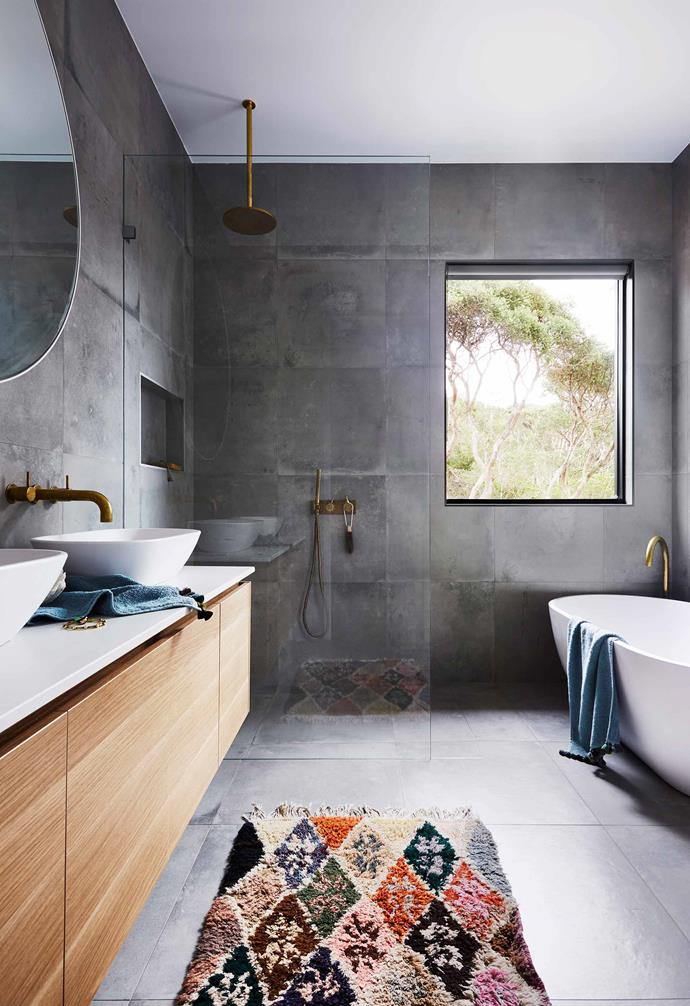 """**Powder room** Floor-to-ceiling 600x600mm Concrete Fusion Steel tiles from [National Tiles](https://www.nationaltiles.com.au/