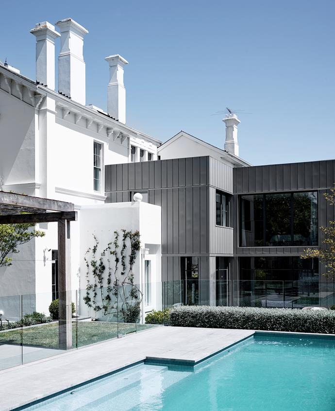 The new double-storey addition brings a contemporary sensibility to the period home. The casual family room now opens directly out to the relocated pool area.