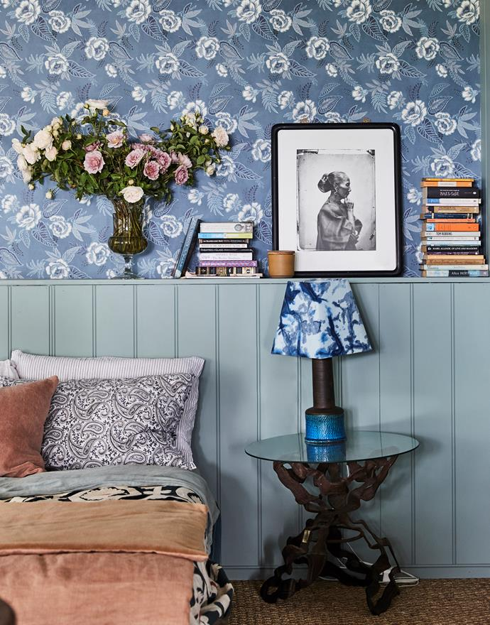 Custom-made bed. Vintage bedside table. Lamp, The Junk Company, with custom shade dyed by Shibori. Photograph by John Thomson. Sibella Court 'Baxter' wallpaper in Boro, Sparkk.
