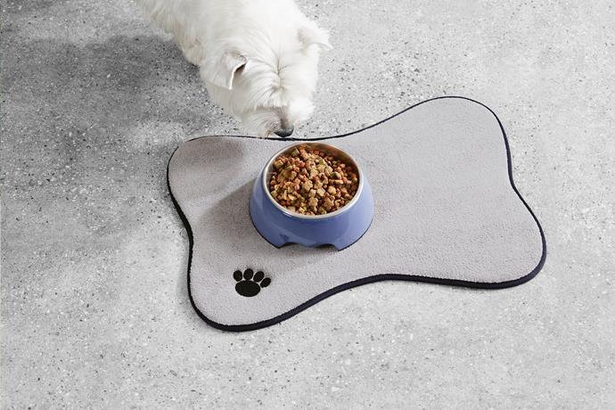 Pet bowl mat, $7.99