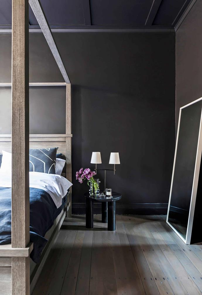 "**Main bedroom** The home's most dramatic room is also the most minimal. Here and throughout the home, Jillian had the original kauri-pine floorboards sanded and stained with a light-grey wash and a matt sealant. Bed frame, [Pottery Barn](https://www.potterybarn.com.au/|target=""_blank""